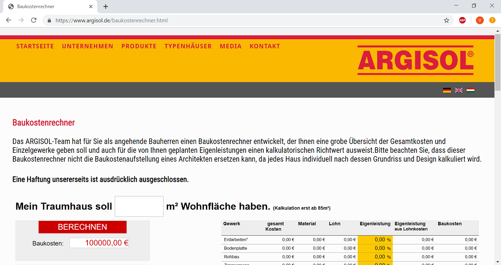 Baukostenrechner-Argisol-Start