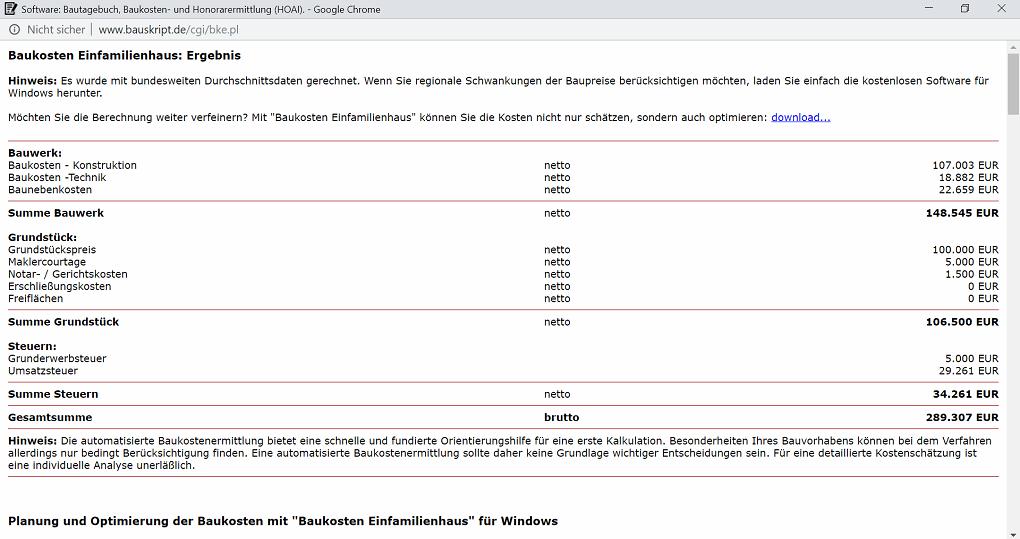 Baukostenrechner-Bauskript-Ergebnis
