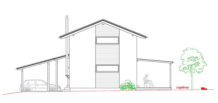 Plan Westansicht von unserem günstigen Haus