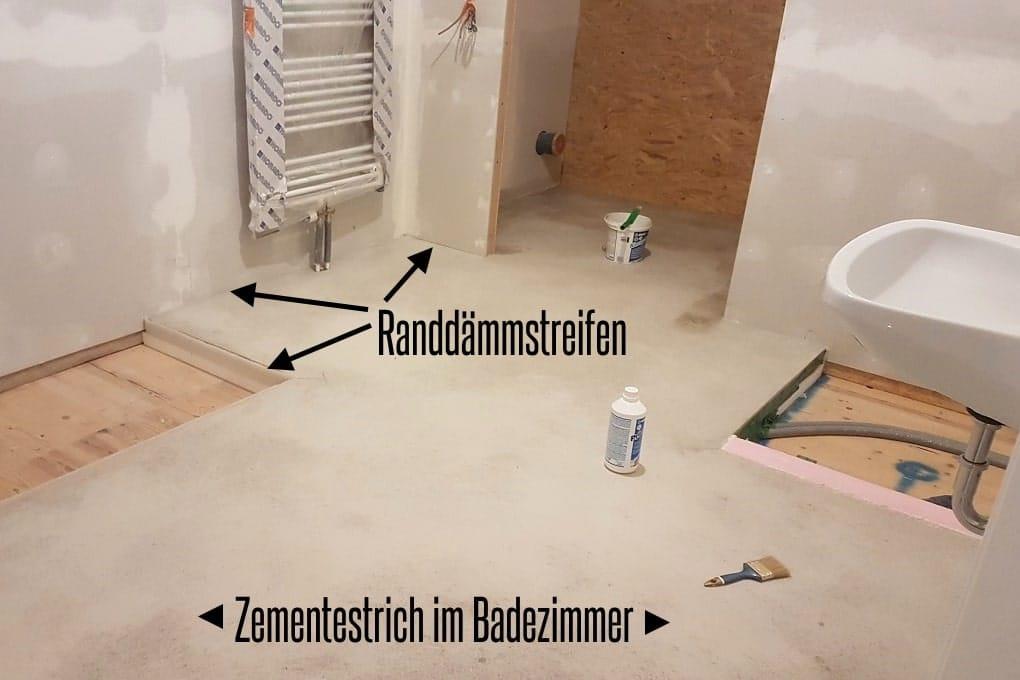 Zementestrich im Badezimmer