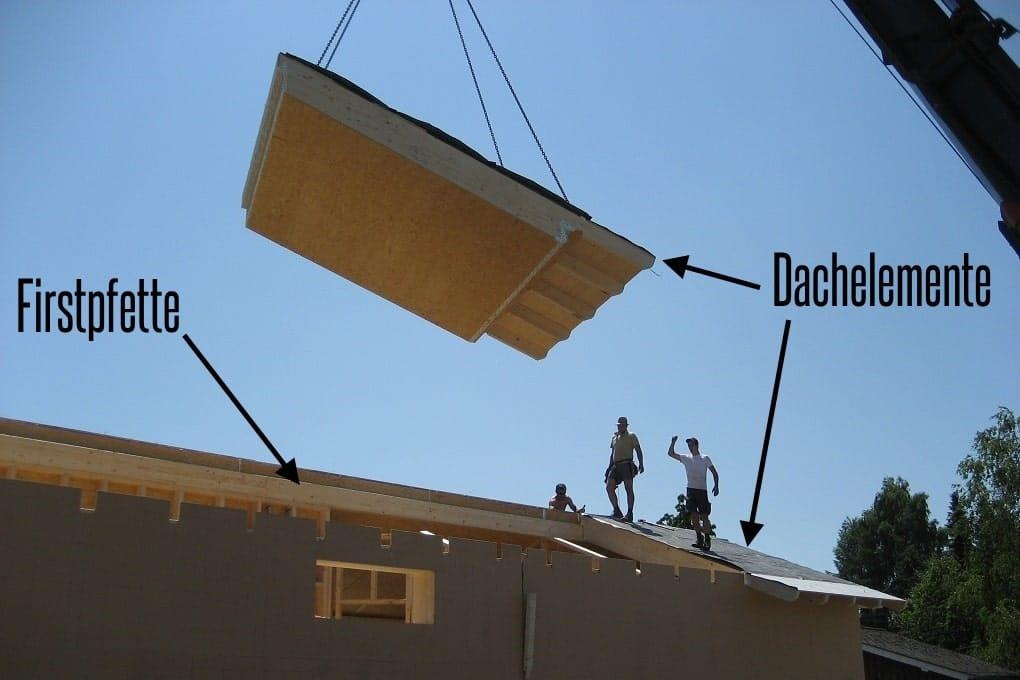 vorgefertigte Dachelemente heben und montieren