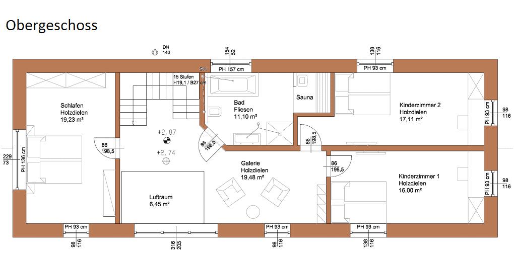Grundriss vom Obergeschoss