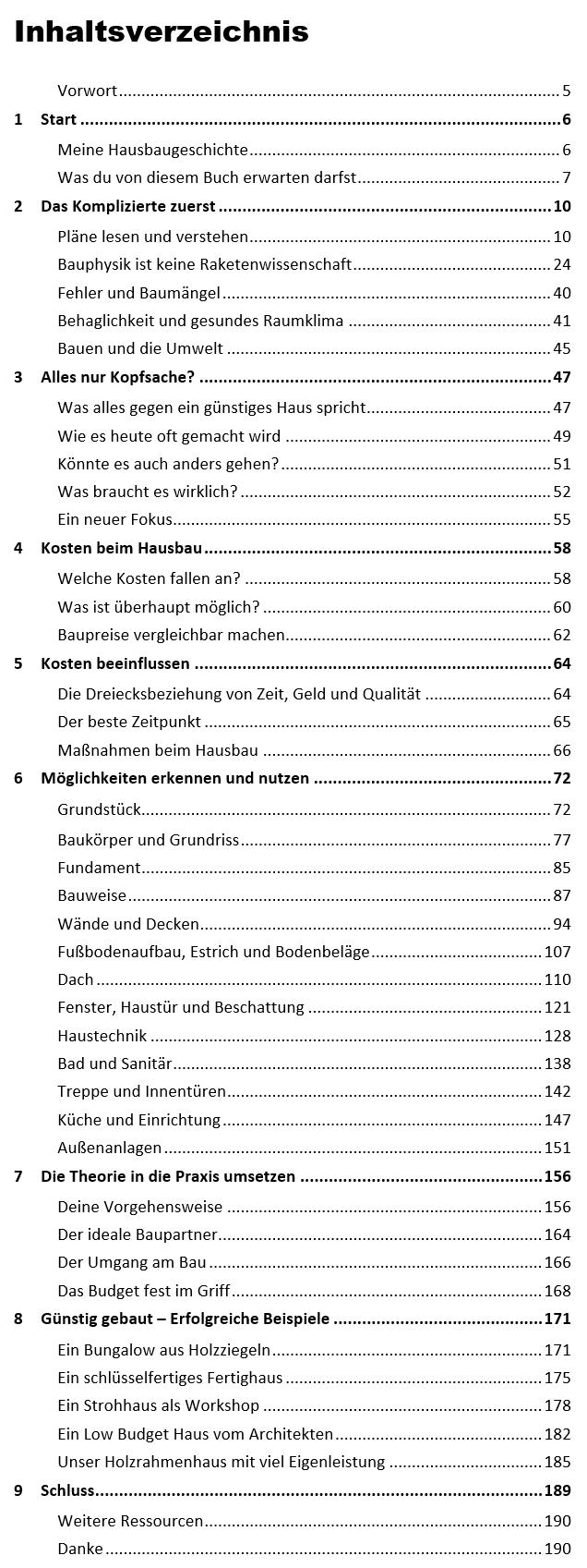 Inhaltsverzeichnis vom Bau-Einfach Handbuch