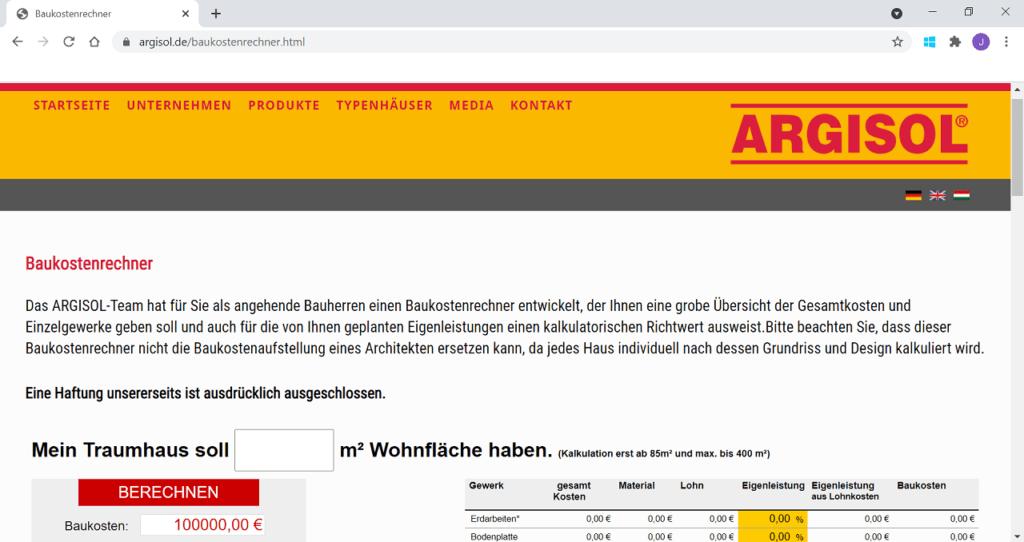 Baukostenrechner-Argisol-Startseite