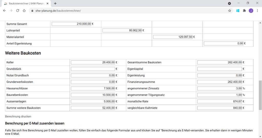 Baukostenrechner-SHW-Planung-Rechenergebnis