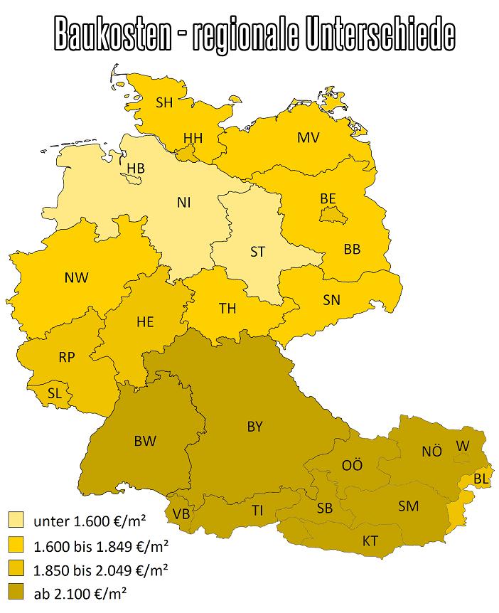 Landkarte Deutschland und Oesterreich mit erkennbaren Unterschieden bei den Baukosten je Bundesland und Region